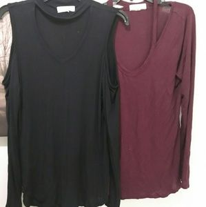 Pair Of Long Sleeve Cold Shoulder Tops
